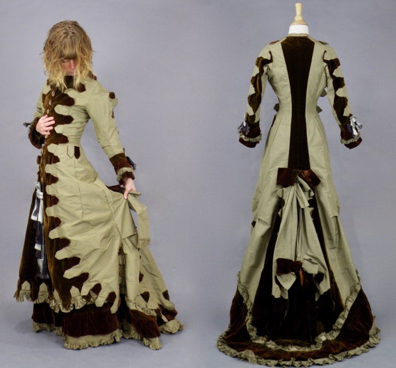 Late 1870's Victorian Princess Natural Form Bustle Dress, Antique Olivine Green Silk and Brown Velvet Gown, 1878 Reception Dress