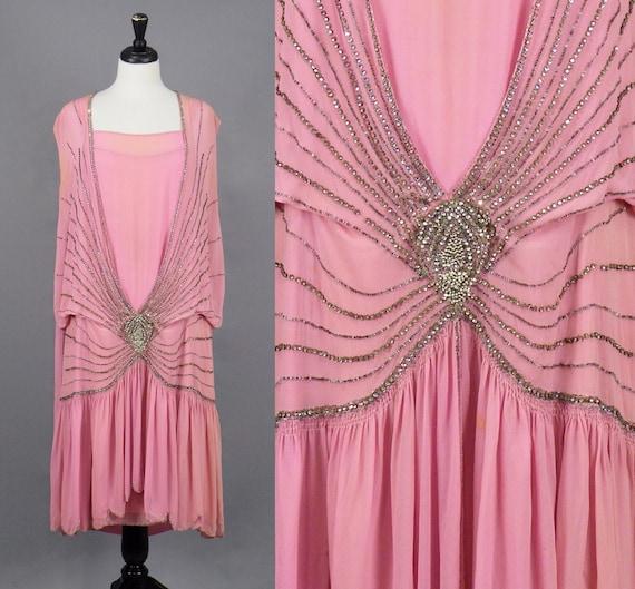 Vintage 1920s Pink Beaded Flapper Dress, 20s Dress, Art Deco Jazz Age Dress with Beaded Rhinestone Spiderweb Design, Medium