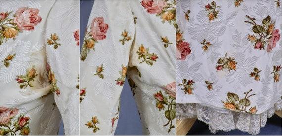 Rare Antique Victorian Floral Jacquard Duchesse S… - image 10