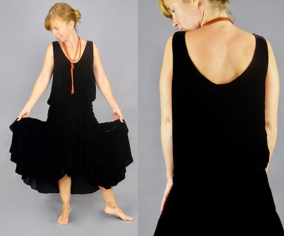 Antique 1920s Jazz Age Black Silk Velvet Tiered Flapper Dress, XS - S