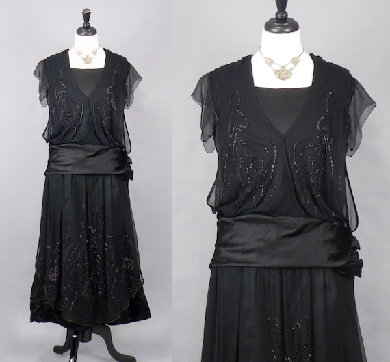 Antique 1910s Dress, 1920s Dress, Edwardian Beaded Black Silk Chiffon Dress, M - M/L