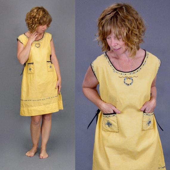 Vintage 1920s Linen Dress, 20s Day Dress, Yellow Embroidered Flower Baskets Summer Dress, Small