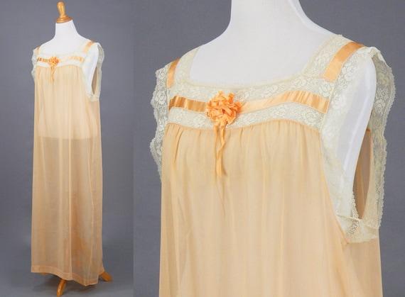 1910s 1920s Nightgown, XL Antique Peach Cotton Fi… - image 2