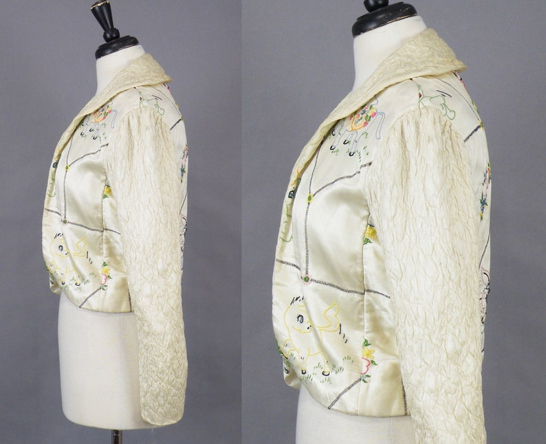 Vintage 1940s Embroidered Lamb Bed Jacket 40s Lingerie Boudoir Jacket with Quilted Sleeves