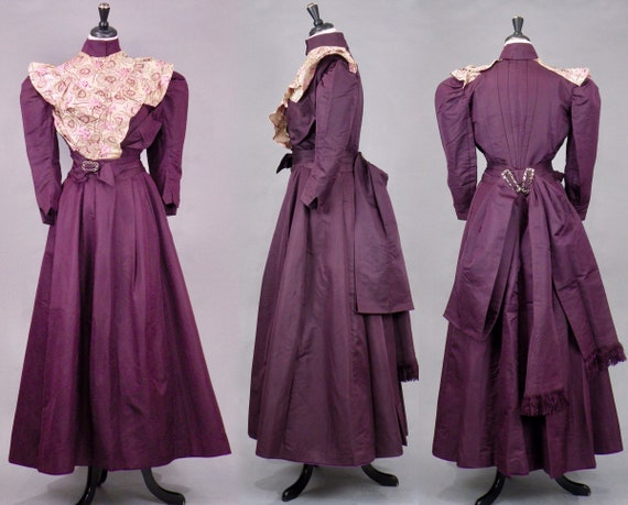 1890s 1900s Victorian Edwardian Dress Set, 4pc Antique Purple Silk Walking Dress, Turn of the Century M - M/L