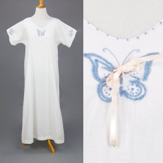 Antique 1910s Butterfly Embroidered NightDress, Edwardian Cotton Nightgown, L - XL