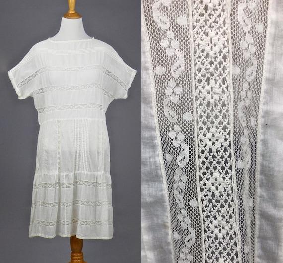 Antique 1910s 1920s White Cotton Lace Dress, L - XL Summer Dress