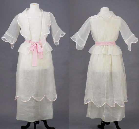 Edwardian Dress, Antique 1910s Dress, White Organd
