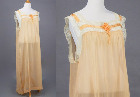 1910s 1920s Nightgown, XL Antique Peach Cotton Fi… - image 4