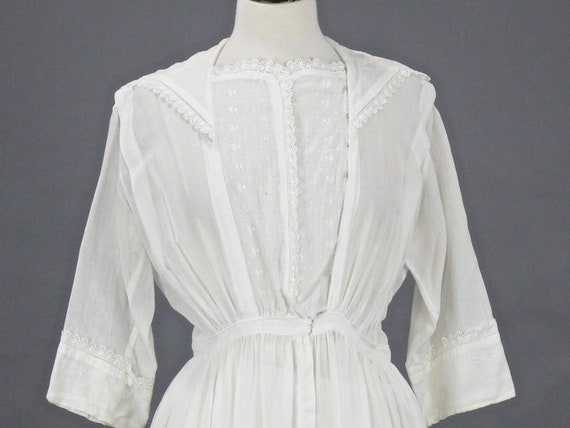 Edwardian White Cotton Dress, Antique 1910s Embroi