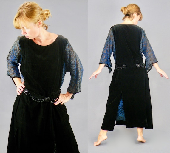 Antique Late 1910s 1920s Velvet Embroidered Flapper Dress with Patterned Asymmetrical Sheer Sleeves, S - M