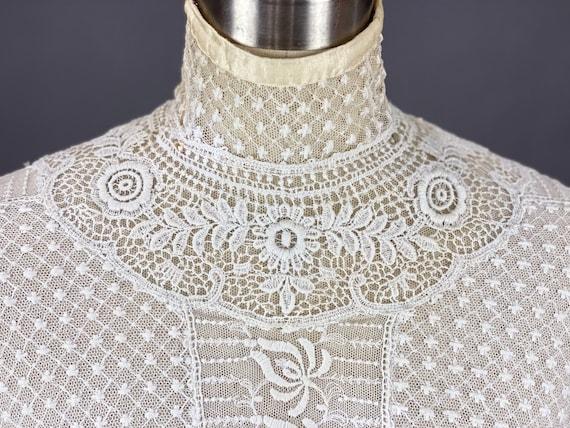 Edwardian Mixed Lace Blouse, 1900s Embroidered Ne… - image 6