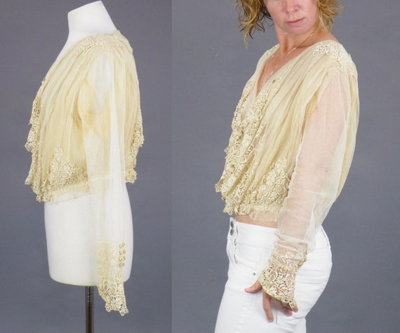 1900s Edwardian Embroidered Net Lace Blouse, Crea… - image 3