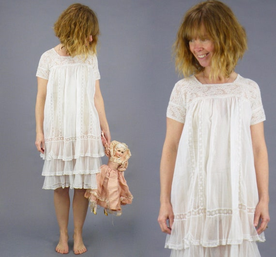 Edwardian White Cotton Tiered Net Lace Babydoll Nightgown Chemise Dress, Antique 1910s 1920s Mixed Lace Nightie Summer Dress