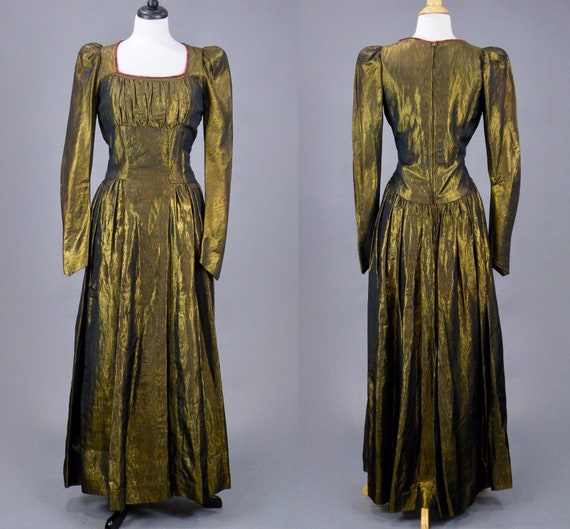 Vintage 1940s Metallic Lamé Dress, 40s Gold Lamé E
