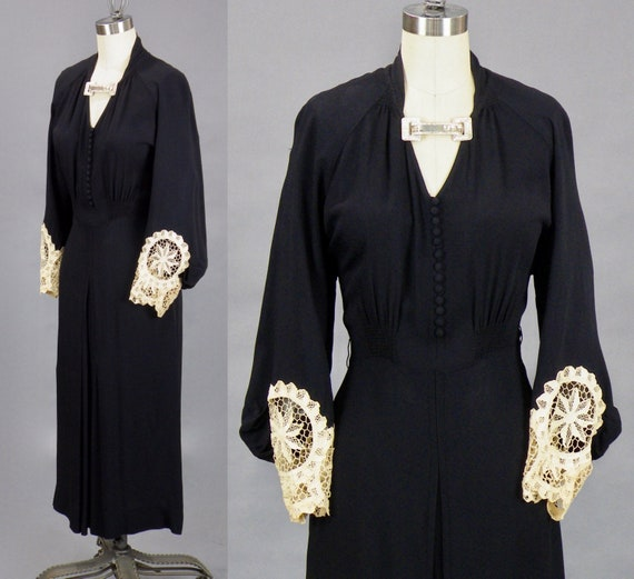 Vintage 1930s Dress, 30s Bishop Sleeve Dress, Lace Trim Black Crepe Evening Dress with Rhinestone Clasp, Old Hollywood Glamour, S/M