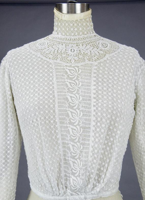 Edwardian Mixed Lace Blouse, 1900s Embroidered Ne… - image 7