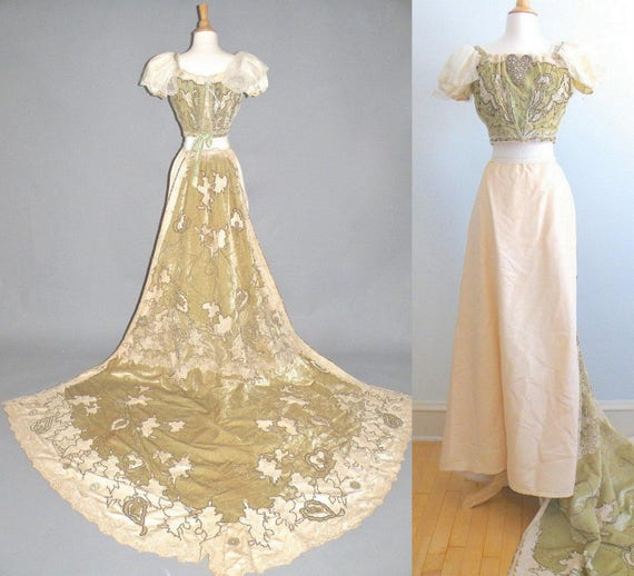 Antique 1898 Beaded Silk Velvet Lace Victorian Ball Gown with Long Train & Ornamental Metallic Bullion Trim, 1800s Reception Gown