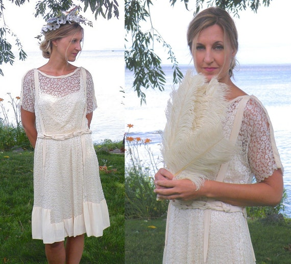 1920s Flapper Dress, 20s Dress, Ivory Silk and Lace Bohemian Wedding Dress, Downton Abbey Great Gatsby Dress Small