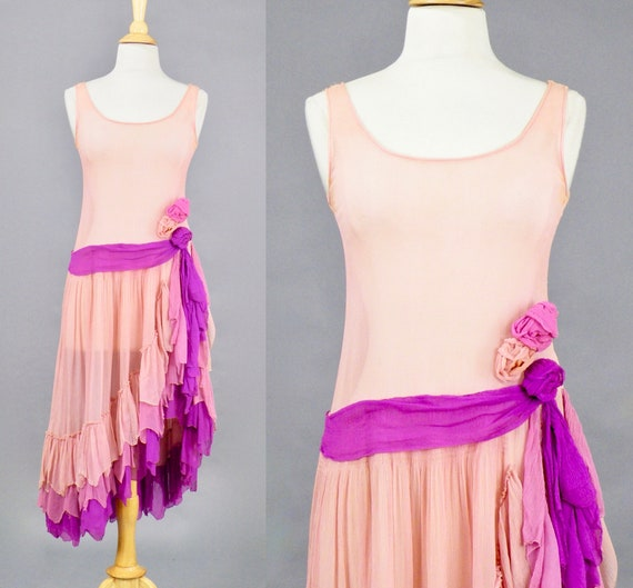 Vintage 1920s Pink Ombre Flapper Dress, 20s Dress with Tiered Side Swept Skirt, XS