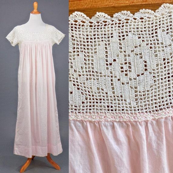 1910s Antique Pink Cotton Filet Crochet Lace Edwardian Night Dress Nightgown, Large