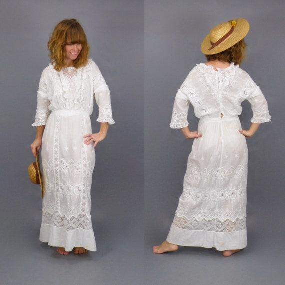 Antique Edwardian White Dress, 1910s Lingerie Dre… - image 4