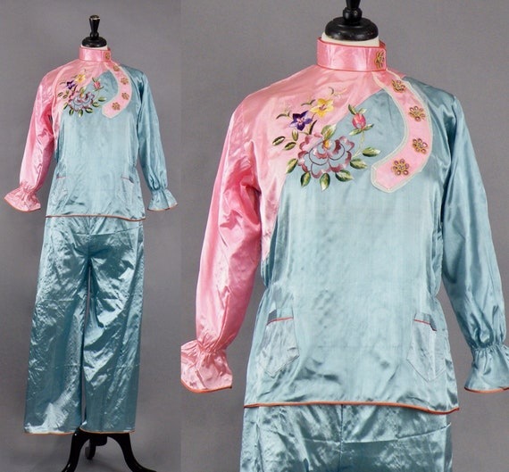 Vintage 1940s Japanese Souvenir Pajamas, WWII Era 40s Embroidered Pink and Blue Lounging Pajamas Sleepwear, Excellent