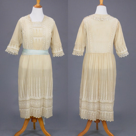 Antique Lace Trim Embroidered Pale Taupe 1910s 20s Dress, Large