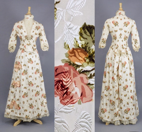 Rare Antique Victorian Floral Jacquard Duchesse Silk Dress, 1880s Rose Gown, Emilia Bossi Firenze Victorian Bustle Ball Gown