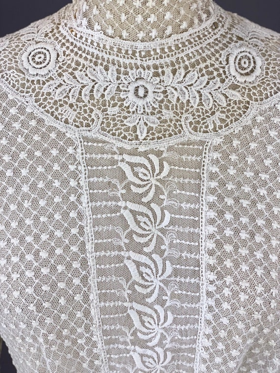 Edwardian Mixed Lace Blouse, 1900s Embroidered Net