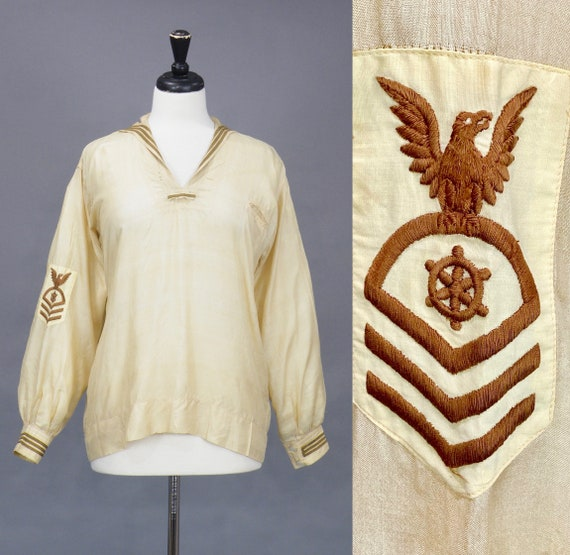 Vintage 1920s Nayvee Middy Blouse, 20s Sailor Blouse, Nautical Work Wear Blouse, Medium - Large
