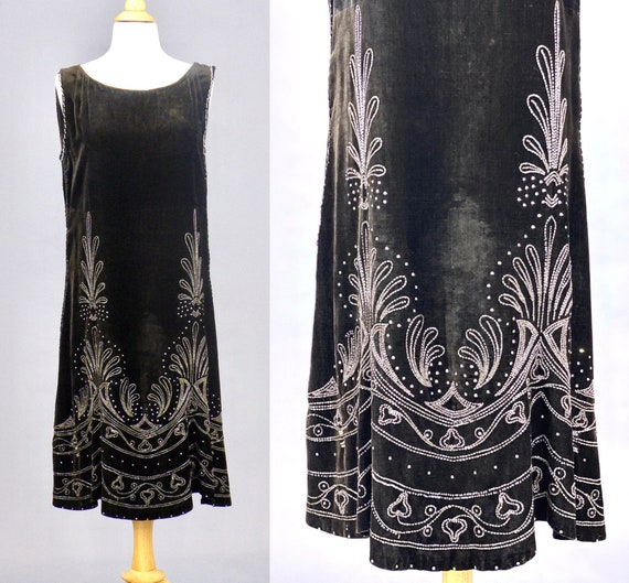 1920s Beaded Velvet Dress, Vintage 20s Dress, Roaring 20s Evening Dress