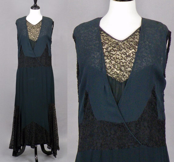 1930s Dress, Vintage 30s Black Silk Chiffon and Lace Evening Dress, Medium