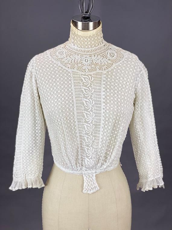 Edwardian Mixed Lace Blouse, 1900s Embroidered Ne… - image 2