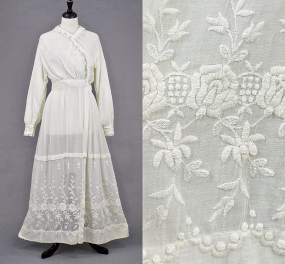 Edwardian Embroidered Cotton Gauze Dress, Antique 1900s White Dress, Medium