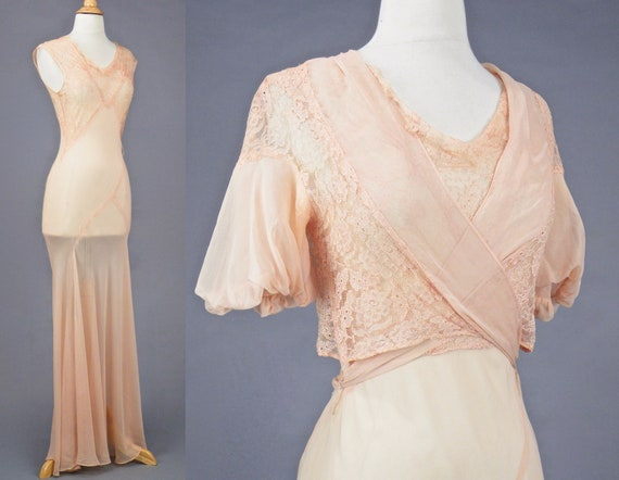 Vintage 1930s Blush Pink Bias Cut 30s Dress and W… - image 6