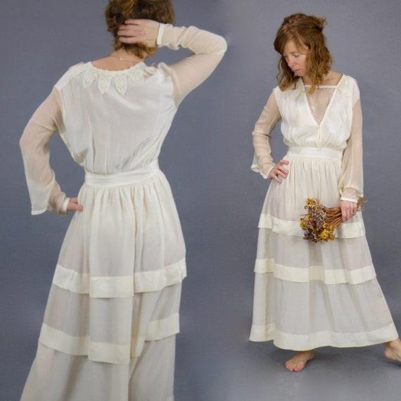 Antique 1910s Lace Trim Cream Silk Edwardian Dress, Small
