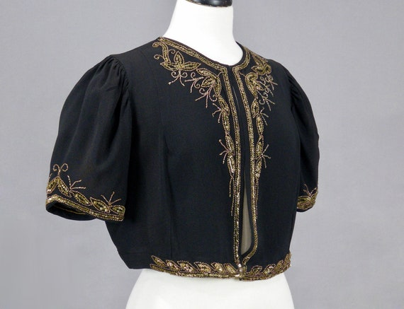 Vintage 1940s Beaded Sequin Crepe Bolero Jacket, … - image 7