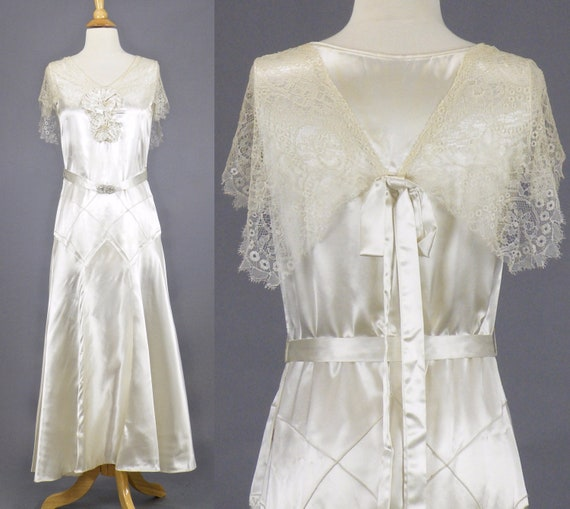 Vintage 1930s Art Deco Wedding Dress, 30s Dress, 1930s Ivory Satin and Lace Bridal Dress with Clasp Belt and Fabric Flowers