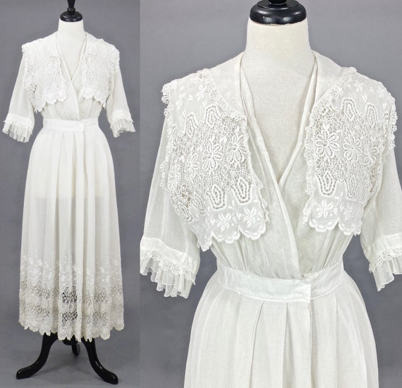 Antique 1910s Whitework Embroidered Lace Edwardian Lawn Dress, S/M 27 Waist