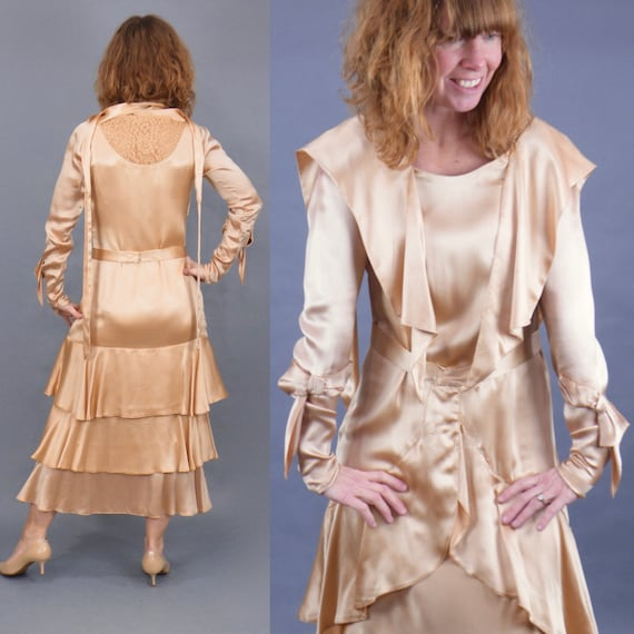 Vintage Late 1920s 30s Dress, Rose Gold Satin Lace Tiered Evening Dress with Tie Bow Sleeve Details