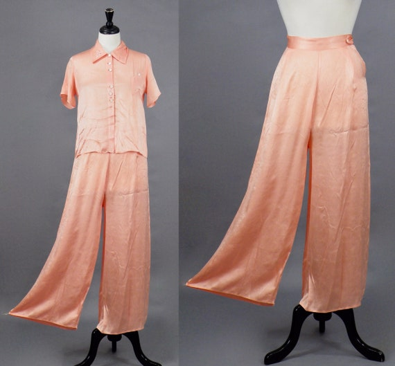 Vintage 1930s Pink Silk Wide Leg Pajamas Loungewear Set, 30s Pajama Pants and Blouse, Dormi-Jams Tailored by Patricia