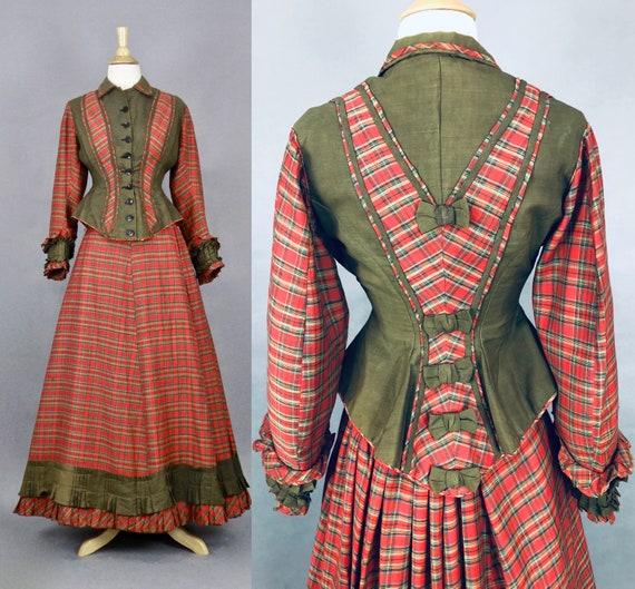 1870s Victorian Plaid Walking Dress, 19th Century Antique Women's Sportswear, 1800s Tartan Plaid Victorian Jacket and Skirt