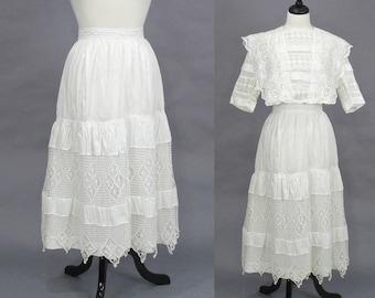 Edwardian Skirt, 1900s 1910s White Cotton Crochet Lace Skirt, Antique Petticoat, Bohemian Skirt 27 Waist