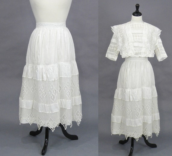 Edwardian Skirt, 1900s 1910s White Cotton Crochet Lace Skirt, Antique Petticoat, Bohemian Skirt 27 Waist
