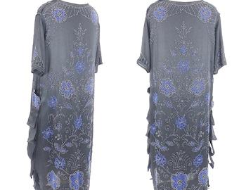 Vintage 1920s Flapper Dress, Beaded 20s Dress, Art Deco Dress, Great Gatsby Party Roaring 20s Dress, L XL
