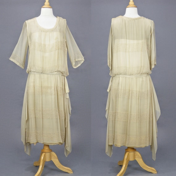Vintage 1920s Dress, 20s Beaded Dress, Beige Drop Waist Dress Flapper Dress with Handkerchief Hem, XS - S