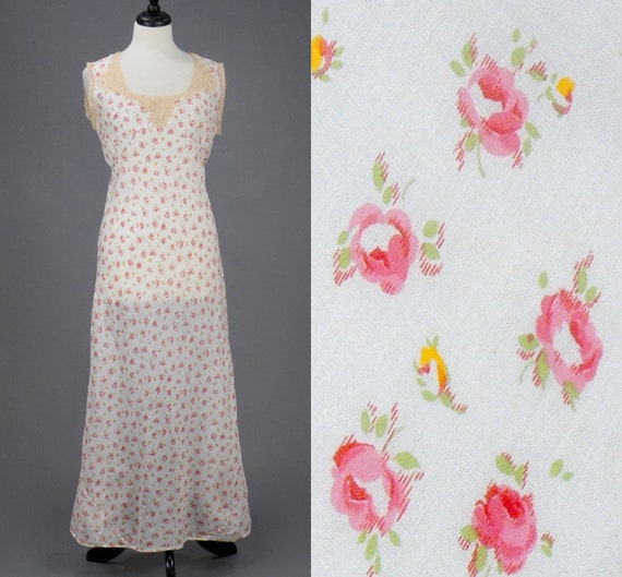 Vintage 1930s Dainty Rose Print Cotton Batiste Bias Cut Slip Dress, S/M - M