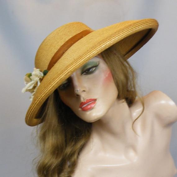 Vintage 1930s 40s Curled Wide Brim Straw Picture Cartwheel Hat with Velvet Flower Trim, Sun Hat