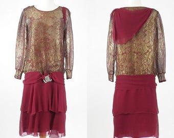 1920s Flapper Dress, 20s Metallic Lamé Dress, Great Gatsby Dress, Art Deco Dress